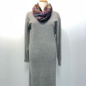 H&M 100% Wool Long Sleeve Sweater Dress V-neck